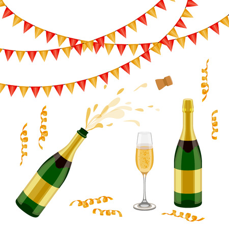Set of champagne, sparkling wine bottle, open and closed, glass, flags and spiral confetti, realistic vector illustration isolated on white background. Champagne bottle, glass, party decorations Çizim
