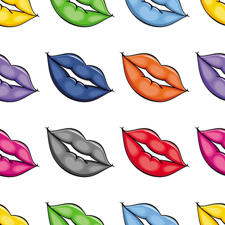 vector cartoon sketch woman girl lips with different pomade color deamless pattern. Red, blue, orange grey pink. Isolated illustration on a white background.
