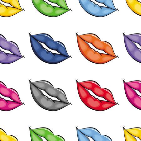 Vector de dibujos animados bosquejo mujer chica labios con diferentes pomadas de color deamless patrón. Rojo, azul, rosa gris anaranjado. Ilustración aislada en un fondo blanco. Foto de archivo - 90246052