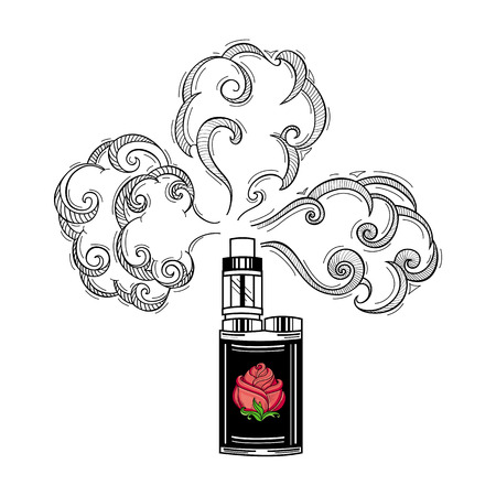 vector sketch hand drawn vape smoking black colored with red rose with green leaves and stem. Isolated illustration on a white background. flat smoking device, vaping concept
