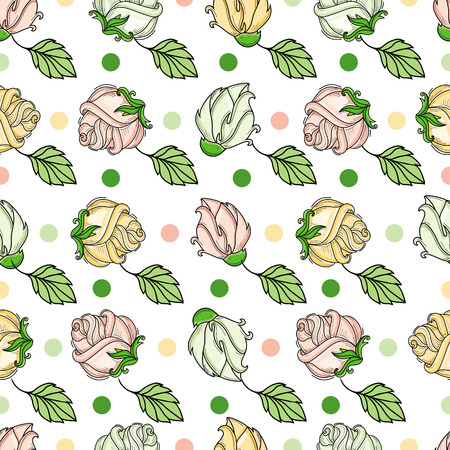 vector hand drawn sketch style elegant vintage rose yellow pink shaded wild flower with stem, leaves and blooming blossom seamless pattern. Isolated illustration on a white background. Ilustrace