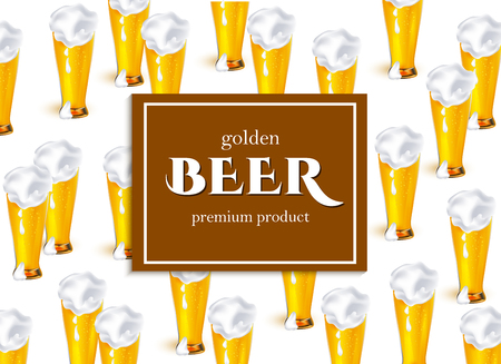 vector poster, banner or placard with full glass of golden lager beer with thick white foam pattern template. Ready for your design mockup. Isolated illustration on a white background.