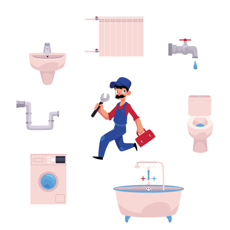 vector man blumber in uniform ,mustache holding case with tools, wrench, water valve, domestic blumbing washing machine, sink, pipe, toilet bowl, bath tube. isolated illustration, white background