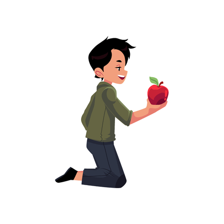 vector flat cartoon young teen boy feeding domestic animal staying at knees giving apple. Children at farm concept. Isolated illustration on a white background.