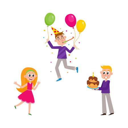 Birthday party - happy girl, boy with layered cake and guy holding balloons and blowing party horn, cartoon vector illustration isolated on white background. Set of people having fun at birthday party Illustration