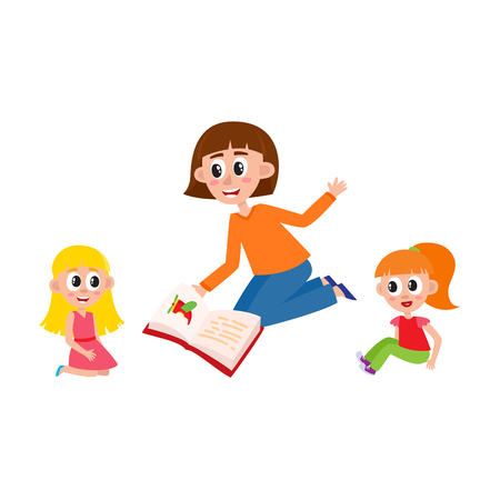 vector flat girls kids sitting around young woman with book - teacher and listening to her attentively with interest. Isolated illustration, white background. Illustration
