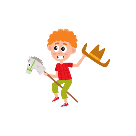 Funny red-haired little boy riding stick horse and waving cowboy hat, cartoon vector illustration on white background. Boy playing with stick horse and cowboy hat, summer camp, vacation activity