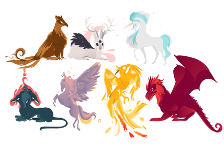 Set of mythical, mythological creates, animals - unicorn, jackalope, phoenix, pegasus, cerberus, griffon, dragon, flat cartoon vector illustration isolated on white background. Set of mythical animals Vectores