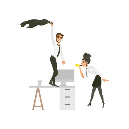 vector plat schattig meisje kantoormedewerker, zakenvrouw manager in bedrijfskleding in rok, stropdas dansen op vloer blazen in pijp, man met baard dansen aan tafel op feestje. Geïsoleerde illustratie Stock Illustratie