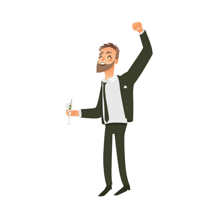 vector flat office worker man with beard in formal corporate clothing - jacket, suit with black necktie, character dancing having fun holding cockteil at party. Isolated illustration white background.