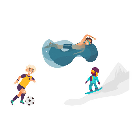 vector cartoon kids doing sports set. Boy playing football, another one swimming in water pool in goggles, girl snowboarding in winter outdoor clothing. Isolated illustration white background