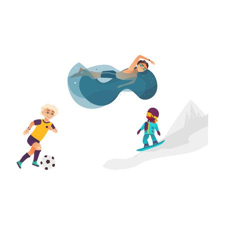 vector cartoon kinderen doen sport set. Jongen voetballen, een ander zwemmen in water zwembad in bril, meisje snowboarden in winter outdoor kleding. Geïsoleerde illustratie witte achtergrond