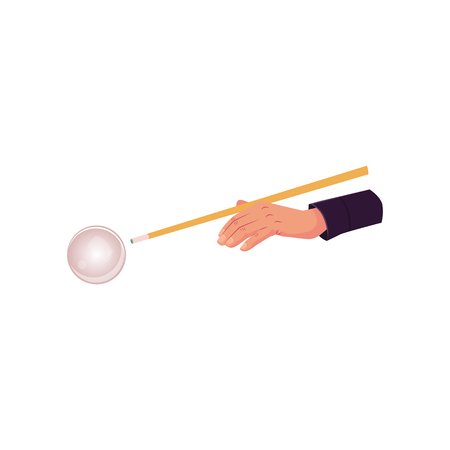 vector flat cartoon style hand in pose with cue stick ready to make shot to a ball. Isolated illustration on a white background.