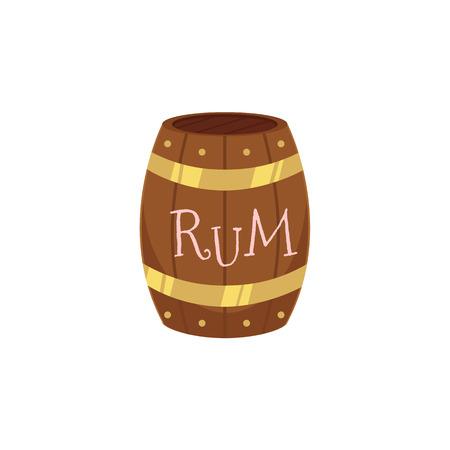 vector houten rum vat geïsoleerde illustratie op een witte achtergrond. Cartoon eiken oud vaatje, alcoholopslag. Symbool van piraten, avontuur, schat