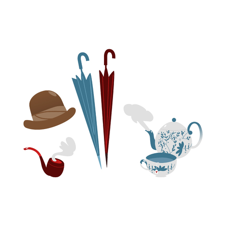 ベクトル フラット英国紳士のシンボル アイコンを設定。禁煙パイプ、雨帽子 ceramit ティーポットの紅茶。白い背景に分離の図。