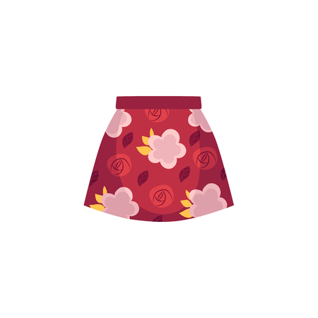 vector flat cartoon summer female skirt with flowers abstract print. Fashionable trendy style summer, female casual clothing. Isolated illustration on a white background.