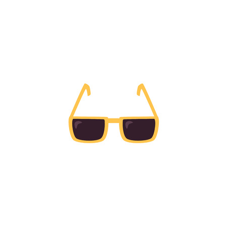 vector flat cartoon fashionable stylish yellow unisex sunglasses ison. Summer trendy accessory. Isolated illustration on a white background. Illustration