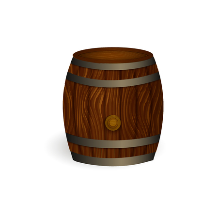 vector realistic beer wooden oak keg barrel with iron rings mockup closeup. Ready for your design product packaging. Isolated illustration on a white background. Çizim