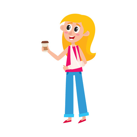 Young pretty blond woman with broken arm in sling holding coffee cup, cartoon vector illustration isolated on white background. Funny cartoon, comic style woman with broken arm and paper coffee cup Illustration