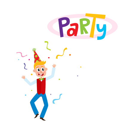 ベクトル フラット面白い白人の若い男パーティの帽子、赤いチョッキとボウタイの周りに紙吹雪と踊る。白い背景に分離の図。