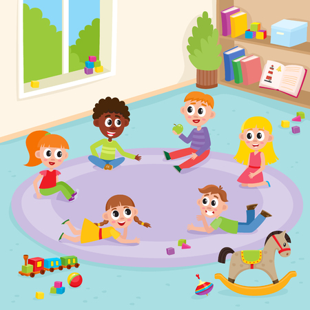 vector flat boys and girls sitting, lying at carpet playing with train, cubics, wooden rocking horse toys and ball smiling and chating in kindergarten . Isolated illustration on a white background.