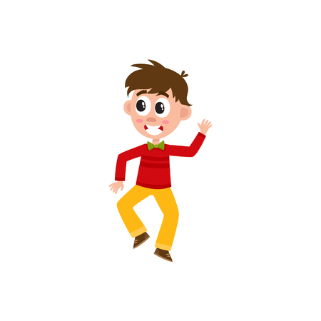 vector flat cartoon children at summer camp concept. Boy having fun dancing at party, jumping in pullover with bowtie. Isolated illustration on a white background.