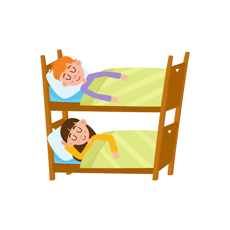 vector flat cartoon children at summer camp concept. Girl and boy kid having rest sleeping in bunk bed under blanket. Isolated illustration on a white background.