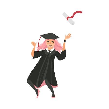 卒業の帽子とガウンの免状、幸福、白い背景で隔離のフラット ベクトル図からダンスを投げる少女。幸せなピンク髪卒業少女、キャップとガウンの