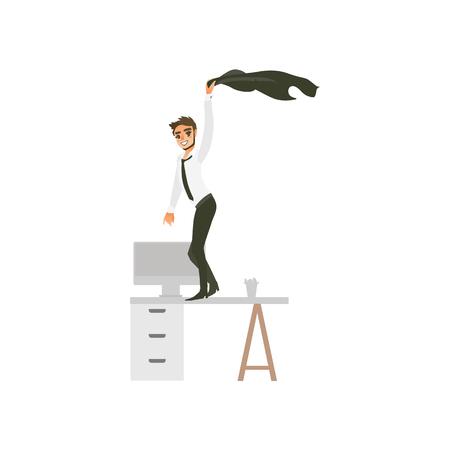 vector flat office worker, handsome man with beard in corporate clothing with black necktie, character dancing at office table swinging his jacket at party. Isolated illustration white background. Illustration