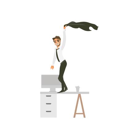 vector trabajador de oficina plana, hombre guapo con barba en ropa corporativa con corbata negra, personaje bailando en la mesa de la oficina balanceando su chaqueta en la fiesta. Fondo aislado del blanco de la ilustración. Ilustración de vector