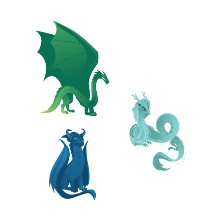Set of three dragon characters, mythical creatures with wings, whiskers and horns, flat vector illustration isolated on white background. Group of dragon creatures with wings, horns and long tails
