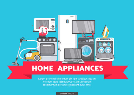 vector online shopping advertising poster banner design. Gas stove, dishwasher, washing machine, electric kettle or teapot, hair dryer, iron, vacuum cleaner, laptop, monitor clock, fridge icon set.