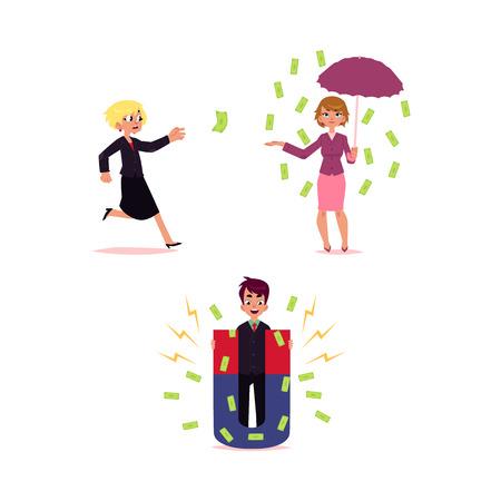 Uomo con soldi che attraggono magnete, donna sotto la pioggia delle banconote con l'ombrello e che rincorre dollaro volante, illustrazione di vettore del fumetto isolata su fondo bianco. Monwy flyinf, concetto che cade Archivio Fotografico - 90296884