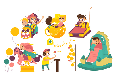 Kids, children having fun in amusement park, riding carousels, showing arrow, jumping in bouncy castle, cartoon vector illustration isolated on white background. Happy kids enjoying amusement park Illustration