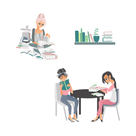 vector cartoon people reading books. Beautiful women in casual clothing sitting at chairs at circle table with books near bookshelf, girl sits at floor with pile of books around at home or library.
