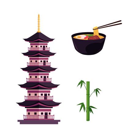 vector platte japan symbolen set. Groene bamboe stengels stokken met groene bladeren, oosterse oude traditionele gebouw - pagode, kom met oosterse noedels pictogram. Geïsoleerde illustratie op een witte achtergrond Stock Illustratie