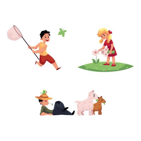 벡터 플랫 만화 십 대 소년, 초원 장면에서 소녀 아이들 - 필드 꽃, 다른 잡기 나비 수집 한 아이. 소년 방목 염소입니다. 흰색 배경에 고립 된 그림입니