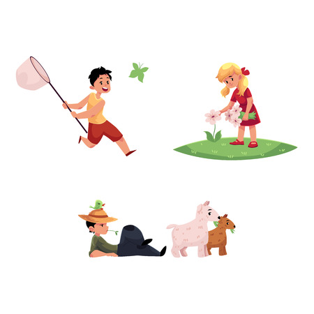 vector flat cartoon teen boy, girl children at meadow scene - one kid collecting field flowers, another catching butterflies. Boy grazing goats. Isolated illustration on a white background.
