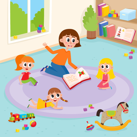 Vector flat girl kids lying, sitting at carpet with train, rocking horse, cubics toys, ball near woman teacher reading book to them explayning in kindergarten. Isolated illustration white background