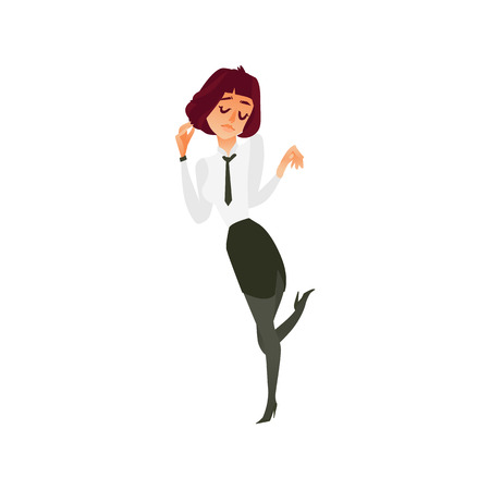 vector flat beautiful cute girl office worker, business woman manager in corporate clothing in skirt and necktie dancing at party. Isolated illustration on a white background. Standard-Bild - 90318633