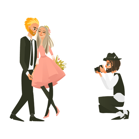 vector cartoon photographer making photos on dslr camera of posing beautiful young couple in love holding hands, flowers bouquet hugging each other. Isolated illustration on a white background.
