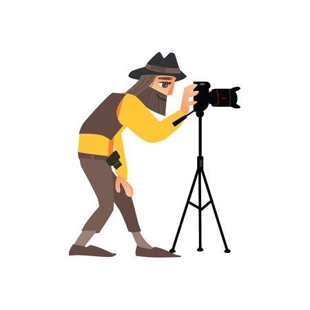 vector flat cartoon man in casual clothing wearing hat making shoots by dslr photo camera standing on tripod. Isolated illustration on a white background.