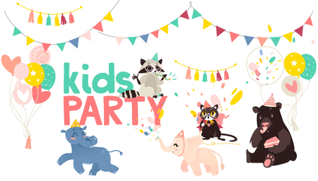 vector cartoon animals at party poster. Hippo and elephat running, cat singing at microphone, bear eats cake raccoon whistling on background of confetti, balloons and flags. Isolated illustration Illustration