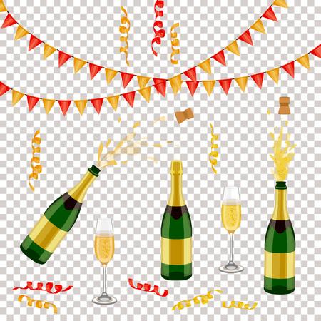 シャンパン、スパークリングワインボトル、オープン&クローズ、ガラス、旗、スパイラル紙吹雪、リアルなベクトルイラストのセット。シャンパン