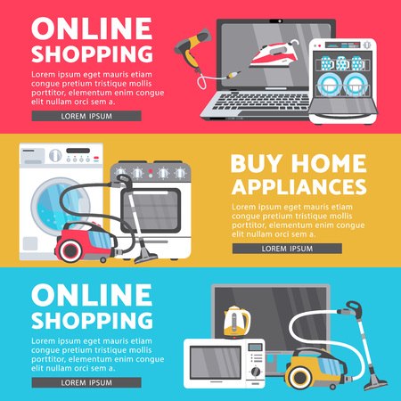 Vector home appliance sale poster, banner set- tv set plasma panel laptop, microwave oven, dishwasher, gas stove, iron, electric kettle and vacuum cleaner, washing machine and hair dryer isolated icon Stock Illustratie