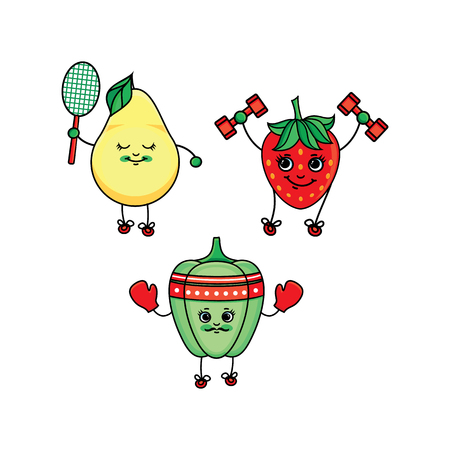 vector flat sketch fruits, vegetables characters with legs, hands and eyes doing sport set. Strawberry working out with dumbbells, pear playing badminton, bellpepper boxing. Isolated illustration.