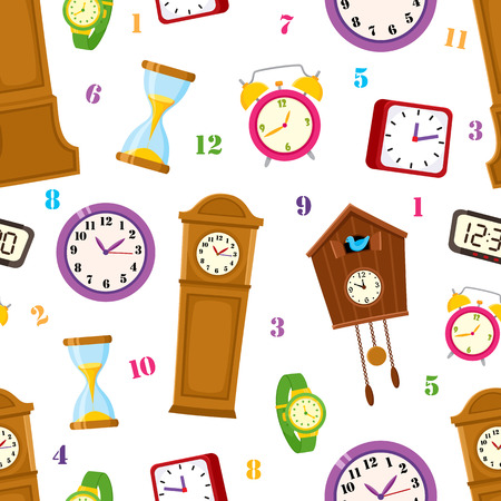 Vector flat types of clocks seamless pattern. Digital wall mounted clock, hourglass, sandglass, table clock, alarm clock, vintage grandfather clock and wristwatch icon. Isolated illustration on