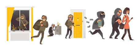 Set of thief in mask breaking into house, safe burglary, picklock, pickpocket, escaping with a loot, flat comic vector illustration isolated on white background. Set of thief, burglar at work
