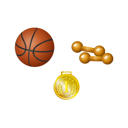 Set of basketball ball, dumbbells and golden medal, realistic vector illustration isolated on white background. Realistic dumbbells, basketball ball and first place golden medal, set of sport objects Illustration