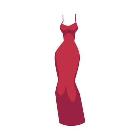 オフショルダーフィットイブニングガウン、スパゲッティストラップ付きの赤いドレス、白い背景に隔離された漫画ベクトルイラスト。漫画の長い